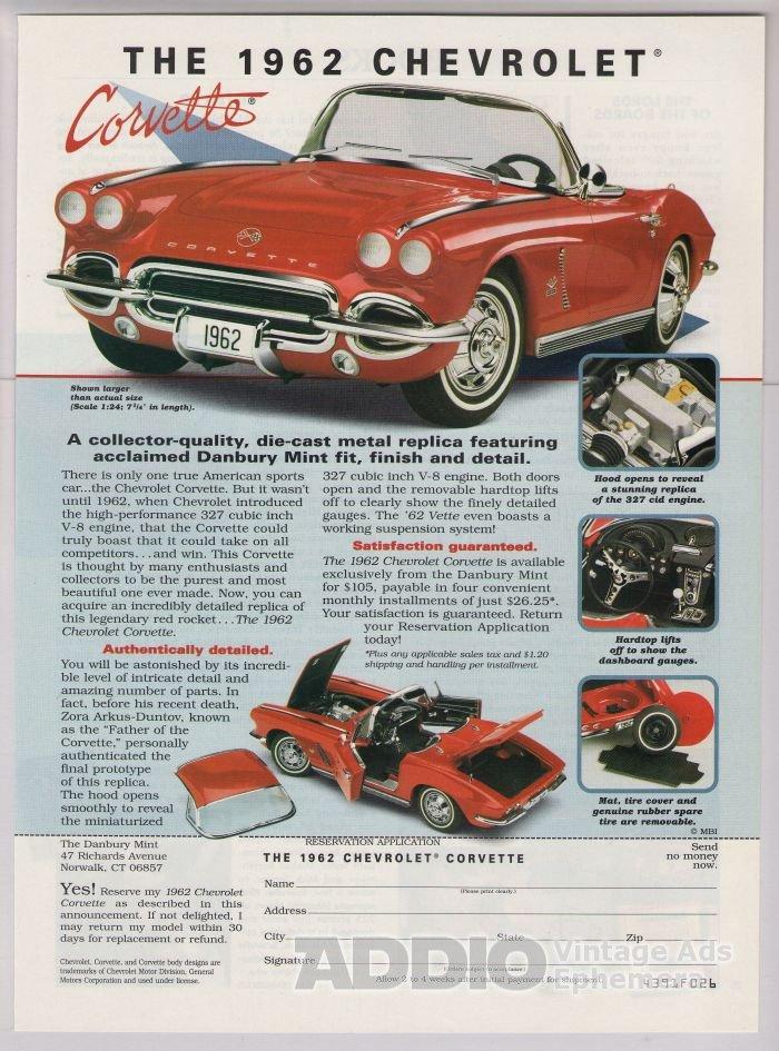 1962 Chevrolet Corvette model '90s PRINT AD Chevy Danbury Mint advertisement