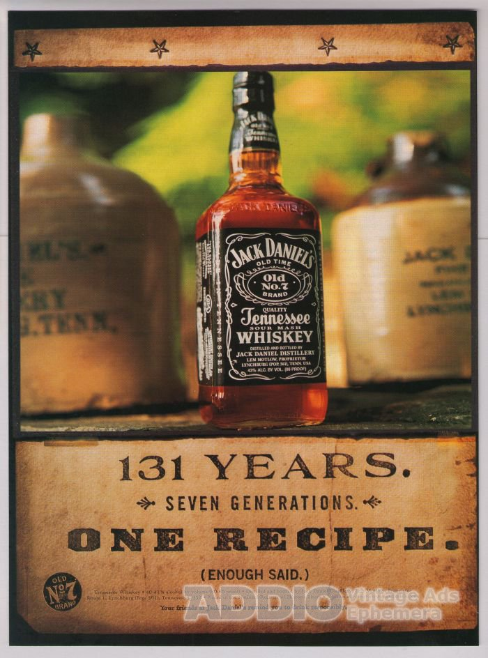jack daniel s whiskey s print ad years one recipe  jack daniel s whiskey 90s print ad 131 years one recipe alcohol advert jack daniels 1998