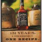 Jack Daniel's whiskey '90s PRINT AD - 131 years, one recipe - alcohol advert Jack Daniels 1998