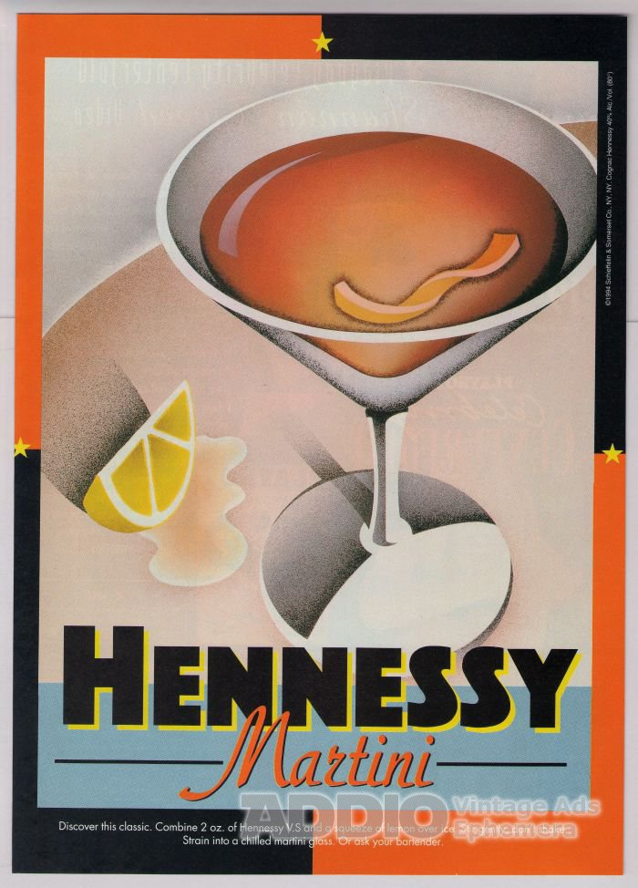 Hennessy Martini '90s PRINT AD alcohol recipe advertisement 1994