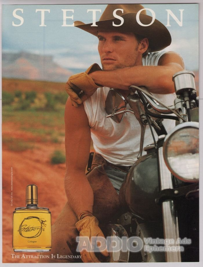 Stetson Cologne PRINT AD cowboy on motorcycle fragrance advertisement 2001