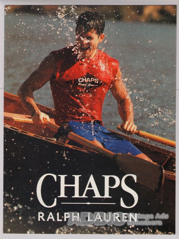 Chaps Ralph Lauren PRINT AD sexy man rower in water fashion advertisement 2001