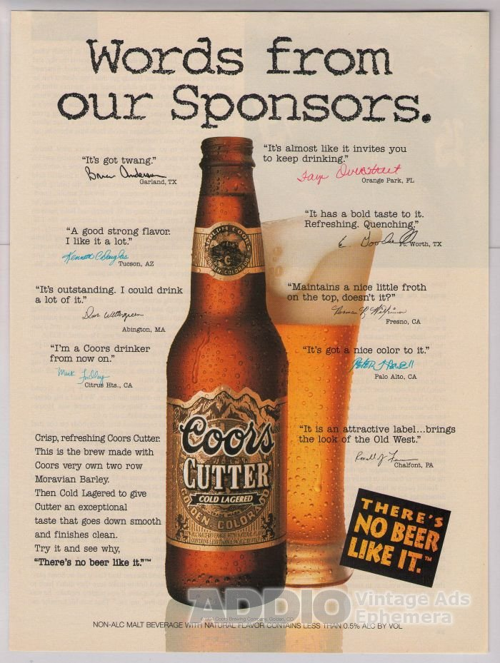 Coors Cutter beer '90s PRINT AD alcohol advertisement 1994