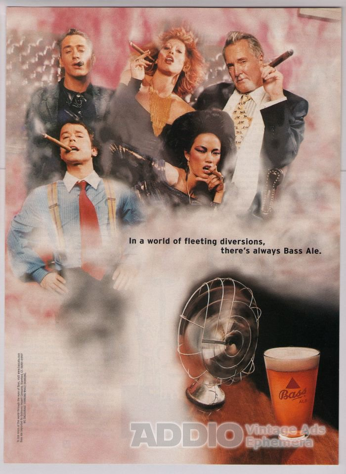 Bass Ale cigar smokers '90s PRINT AD alcohol advertisement 1997