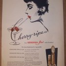 Khasana-Rot red lipstick '50s German PRINT AD beauty product illustrated vintage advertisement 1957