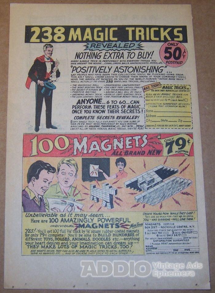 238 Magic Tricks / 100 Magnets '60s PRINT AD magician original vintage advertisement 1965