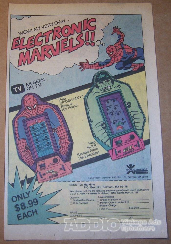 Spider-Man Rescue, Hulk Escapes Bandai handheld video games '80s PRINT AD vintage advertisement 1980
