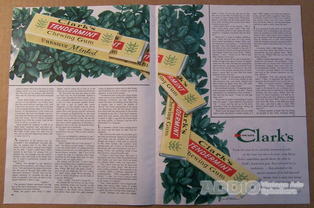 Clark's Tendermint chewing gum '40s PRINT AD two-page vintage advertisement 1948