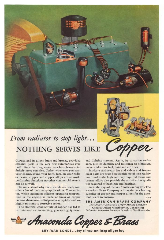 Anaconda Copper Brass '40s Bronze Industrial Vintage Advertisement Original Ad 1945