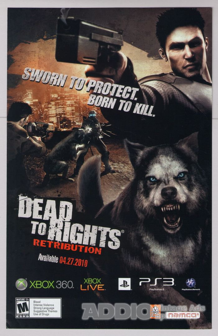 DEAD TO RIGHTS Retribution PRINT AD video game advertisement 2010