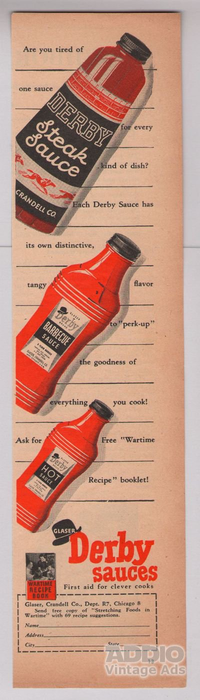 Derby sauces '40s PRINT AD Glaser vintage advertisement 1944