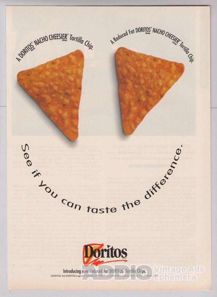 DORITOS Reduced Fat '90s PRINT AD tortilla chip Frito-Lay advertisement 1996