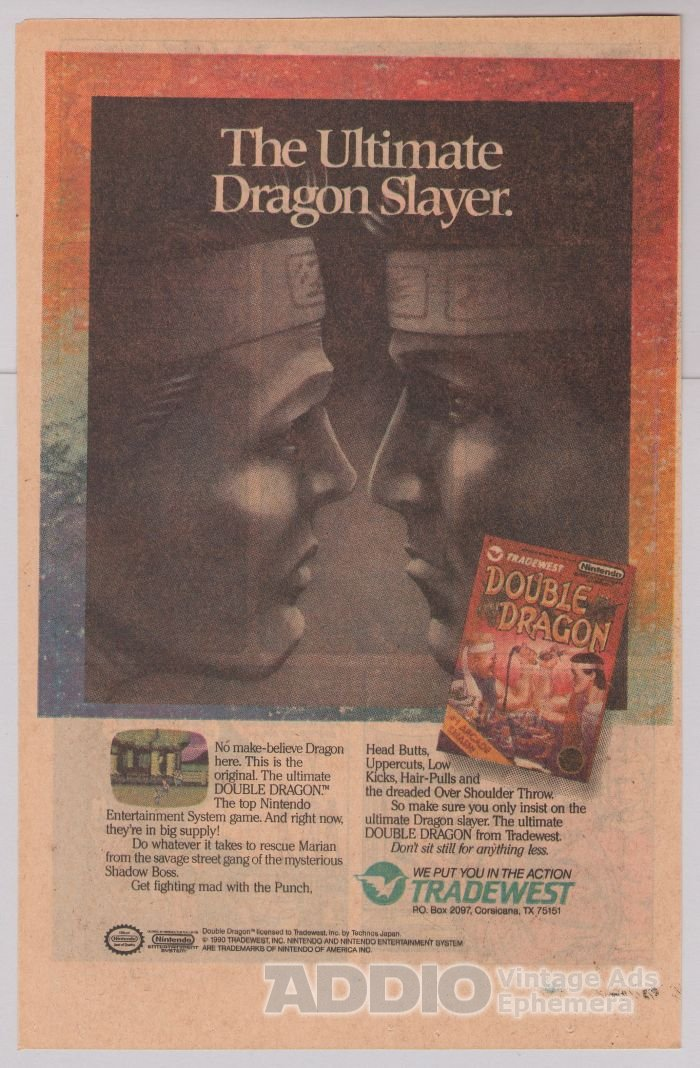 DOUBLE DRAGON video game '90s PRINT AD Tradewest advertisement 1990
