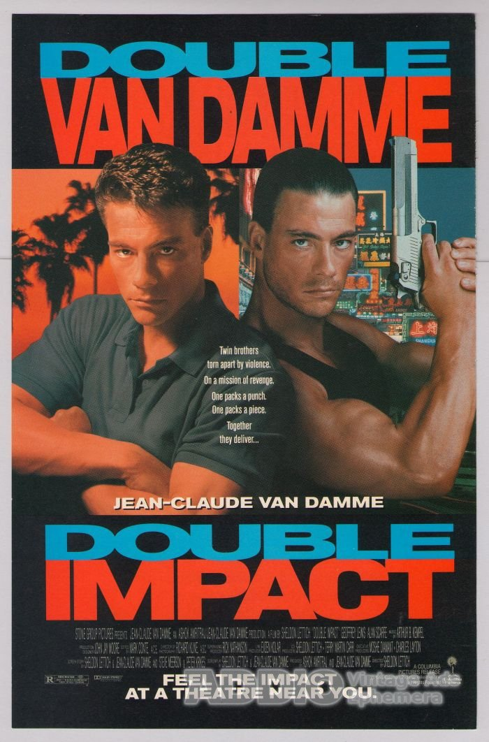 DOUBLE IMPACT Jean-Claude Van Damme '90s PRINT AD twins movie advertisement 1991