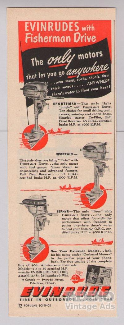 EVINRUDE outboard motors '40s PRINT AD boating vintage advertisement 1949