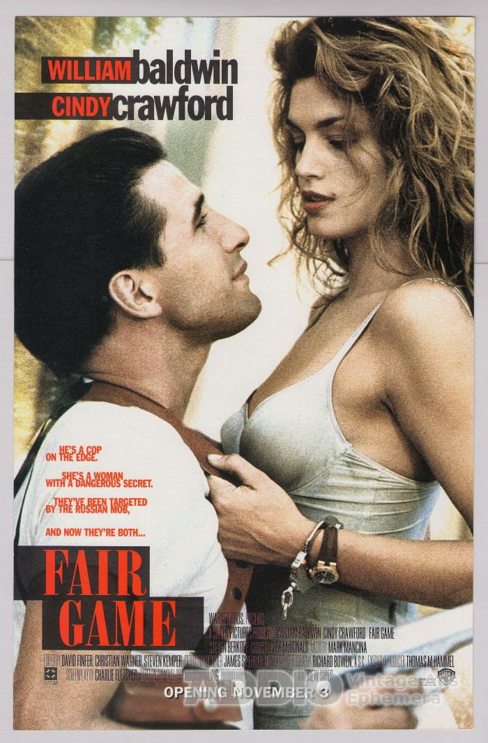 FAIR GAME Cindy Crawford '90s PRINT AD William Baldwin movie advertisement 1995