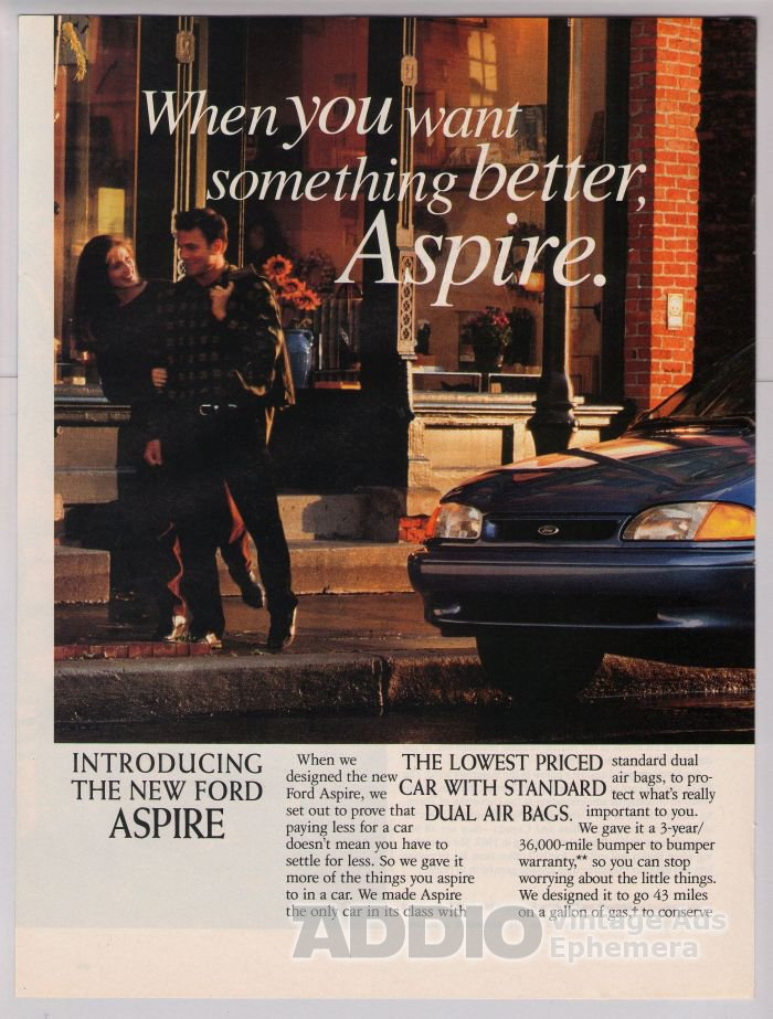 1994 Ford Aspire '90s 2-page PRINT AD automobile car advertisement