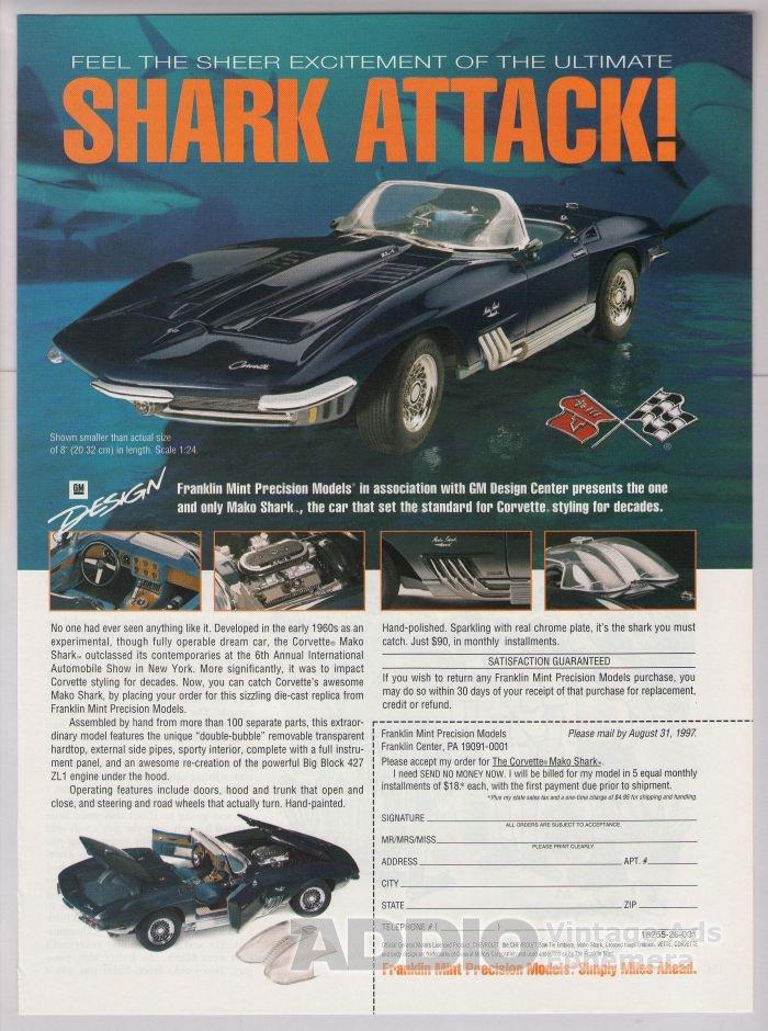 Chevy Corvette Mako Shark '90s PRINT AD Franklin Mint model Cheverolet advertisement 1997