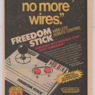 Freedom Stick PRINT AD video game wireless remote control Camerica joystick '90s