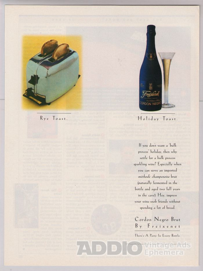 FREIXENET Cordon Negro Brut '90s PRINT AD wine advertisement 1994