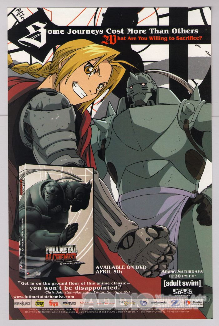 Full Metal Alchemist Adult Swim PRINT AD DVD anime Cartoon Network advertisement 2005