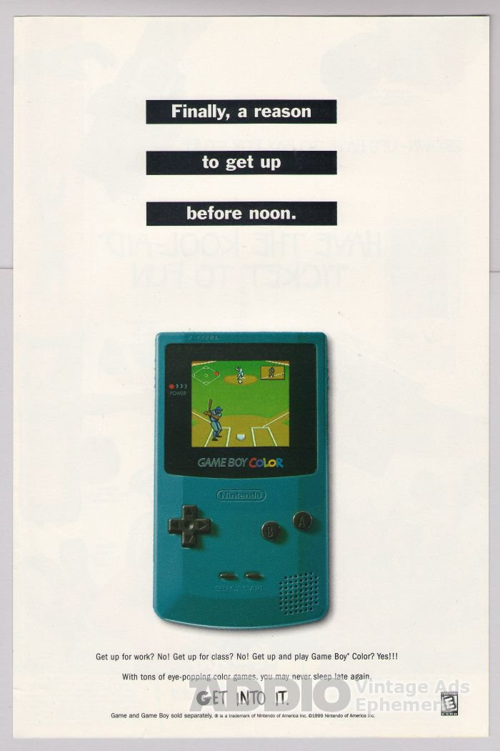 Game Boy Color PRINT AD Nintendo video game advertisement 2000