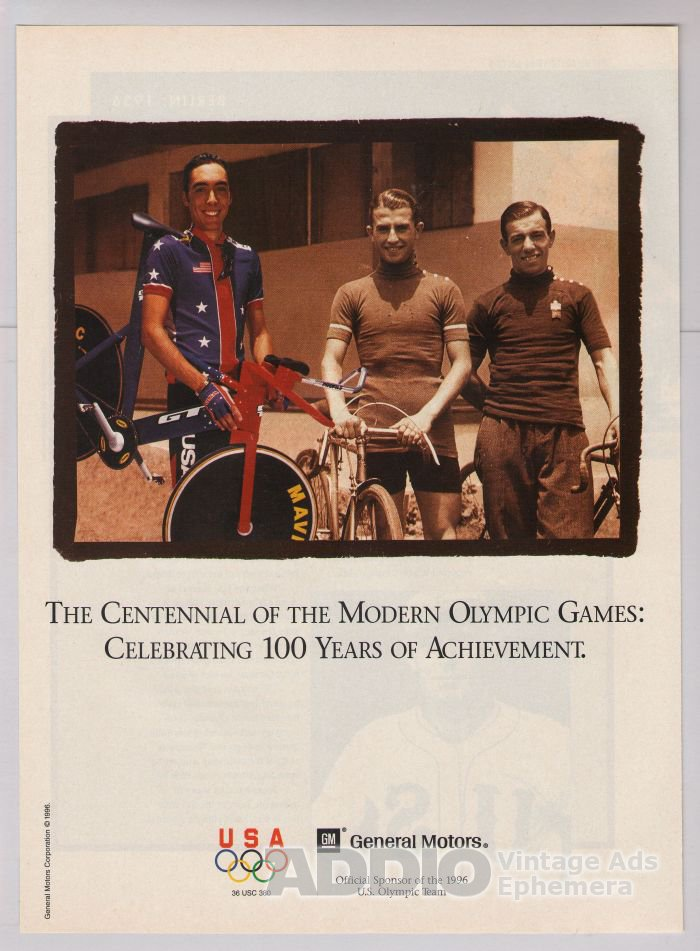 1996 Olympics PRINT AD cycling General Motors 1996 Olympic Games advertisement '90s