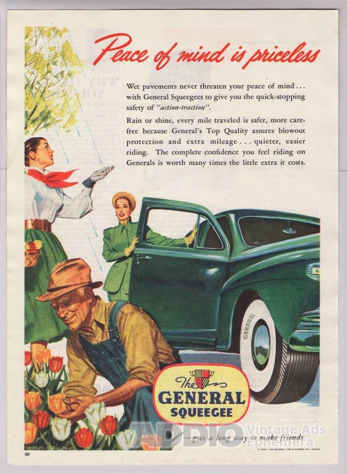General Squeegee car tires '40s old PRINT AD gardener ladies tulips vintage advertisement 1948