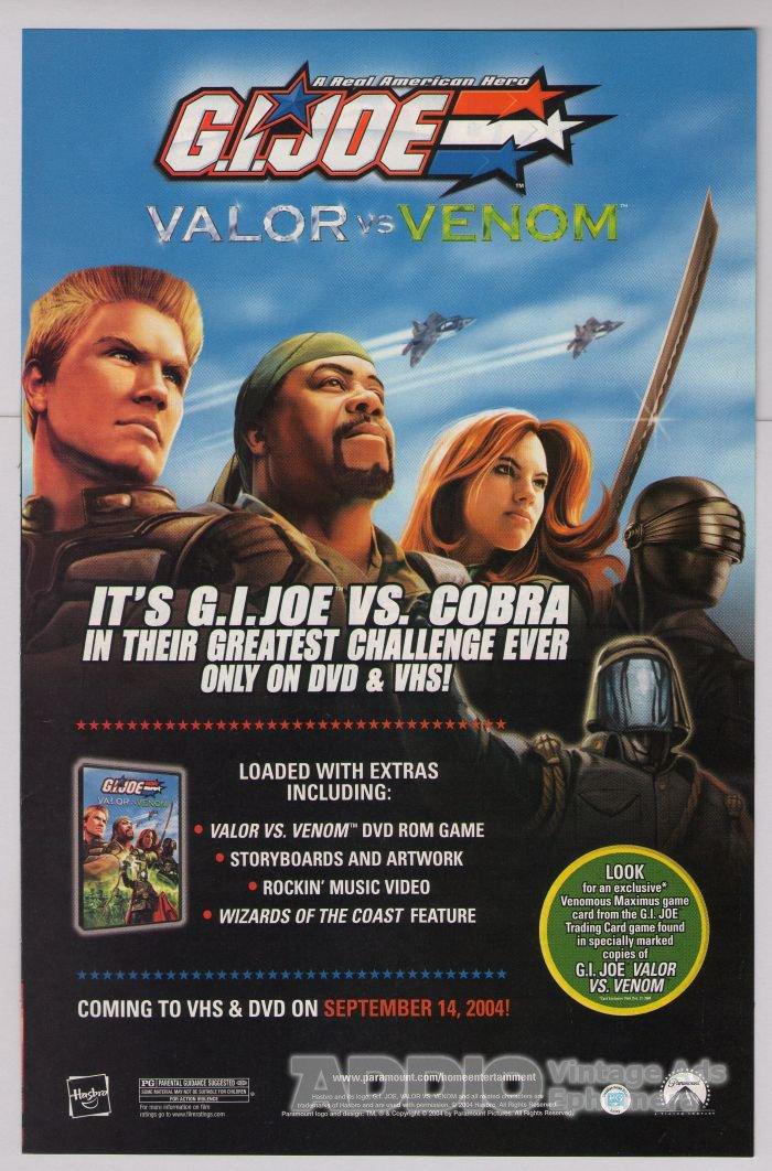 G.I. Joe Valor vs Venom PRINT AD movie advertisement GI Joe VHS DVD 2004