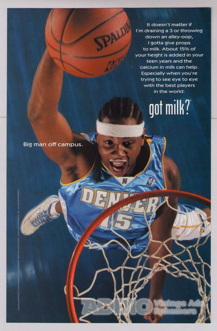CARMELO ANTHONY got milk PRINT AD basketball advertisement Denver Nuggets 2004