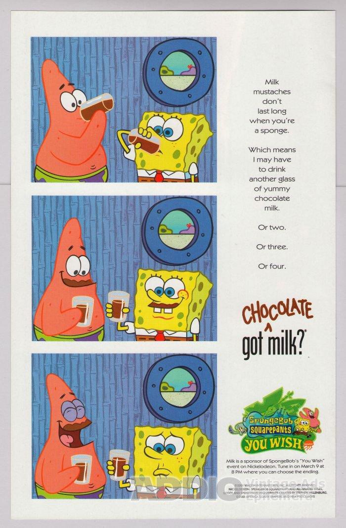 Spongebob Squarepants PRINT AD Got Milk Patrick Star cartoon advertisement 2001