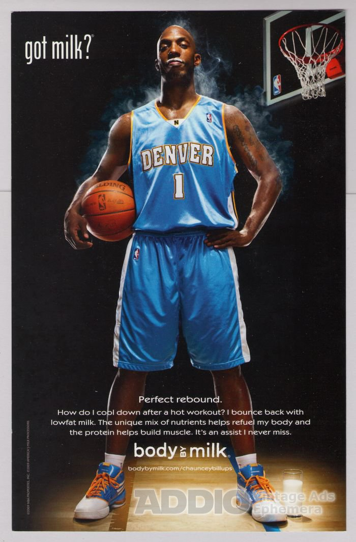 CHAUNCEY BILLUPS got milk PRINT AD Denver Nuggets L.A. Clippers NBA Body by Milk advertisement 2009