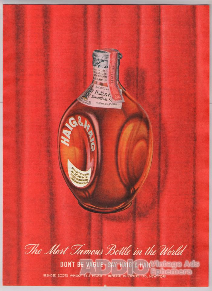 Haig & Haig Scotch Whiskey '40s old PRINT AD red vintage advertisement 1948