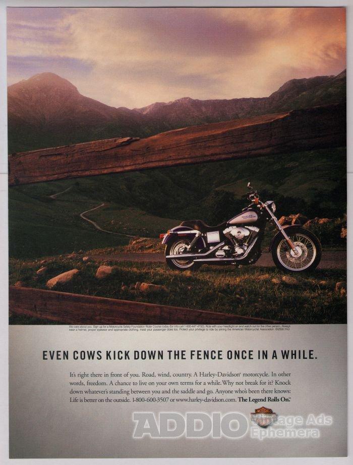 Harley-Davidson PRINT AD motorcycle landscape photo advertisement 2001