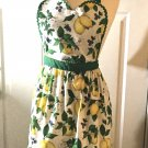 Retro Style Lemon Print Apron Kitchen Apron Bridal Shower Apron