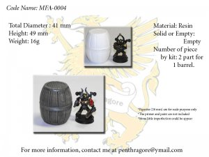 Very Big Wooden Barrel - (Bits for WARGAME) - MFA-0004