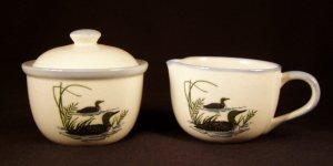 Mallard Duck Ducks Creamer & Covered Sugar Bowl Rustic Stoneware