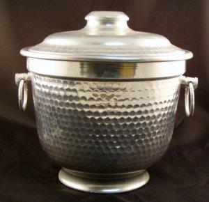 Vintage 1950's Hammered Aluminum Ice Bucket Italy