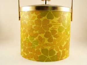 1970's Vintage Retro Leatherette Ice Bucket Yellow Gold Green Flowers