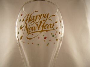 2 Happy New Year Champagne Flute Toasting Glass Glasses