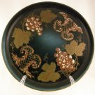 Pilgrim Art Vintage Round Metal Tole Toleware Tray Black with Grapes Signed