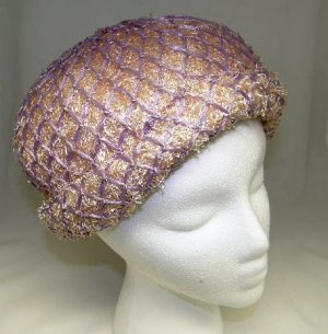Vintage Womans Ladies Pink and Light Purple Straw Fabric Flapper Style Hat