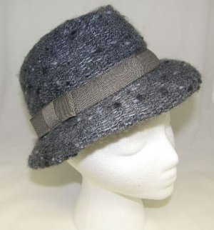 Vintage 80's Ladies Womans Blue Gray Tweed Knit Fedora Hat Jacobsons Made in Italy