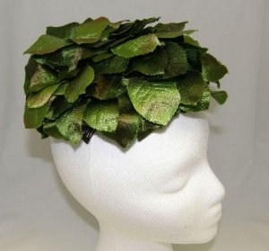 Vintage 50's Millinery Womans Ladies Hat Shiny Green Satin Leaves