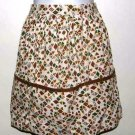 Vintage Cotton Half Apron Brown Gold Green Retro Print