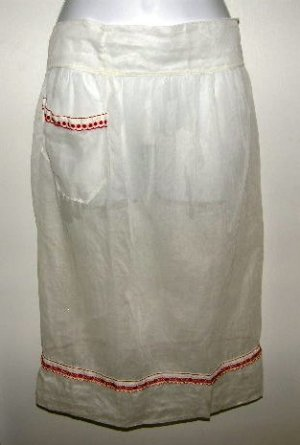 Vintage Sheer White Half Apron Red Trim Large or Plus Size