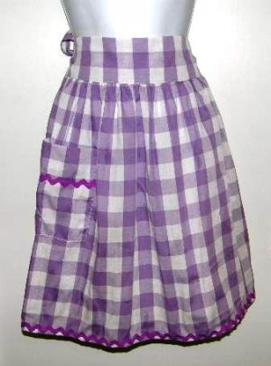 Vintage Handmade Purple and White Check Cotton Half Apron Large or Plus Size