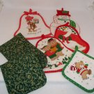 Christmas Holiday Pot Holders Assorted Sizes & Colors Set of 7