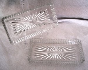 Depression Glass Small Square Serving Trays Set of 2