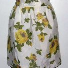 Vintage Reversible Half Apron White with Yellow Flowers Floral